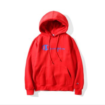 Champion couple sets the head sweater couple models Plus velvet hooded sweater simple printing class service Red