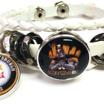 NFL Pittsburgh Steelers Bracelet Steely McBeam &  Circle Logo Football Fan White Leather  W/2 18MM - 20MM Snap Charms New Item