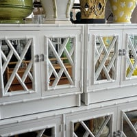 Vintage Chinese Chippendale Faux Bamboo Fretwork Pair of Nightstands End Tables Cabinets Hollywood Regency Mirror Mirrored Chinoiserie