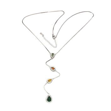 A Natural Sapphire & Emerald Medley Necklace