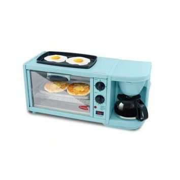 Blue or Red Large 3-in-1 Coffee Maker, Toaster Oven Breakfast Station