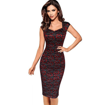 Plus Size 4XL Summer Dress 2017 Autumn Womens Elegant Embroidery Flower Vintage Sleeveless Office Casual Party Pencil Dresses