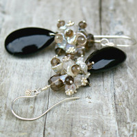 Wire wrapped sterling silver earrings, smokey quartz, heishi shell, moonstone and black Onyx earrings.
