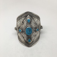 Big Vintage Afghan Turkmen Tribal Oval Blue Turquoise Inlay cuff bracelet, BR29