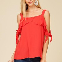 Red Ruffle Tie Sleeve Blouse