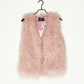 Streetwear Fashion Shaggy Hairy Winter Warm Girl Women Faux Sheep Fur Vest Pink Black White Grey Plus Size XXXL