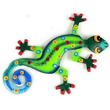 Eight Inch Metal Gecko Jungle Design - Caribbean Craft