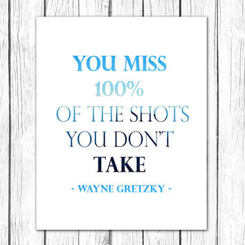 Hockey Gifts Teen Gift, Boyfriend Gift, Typography Print, Wayne Gretzky Quote Hockey Art, Navy Boys Room Wall Art, Boys Sports Decor