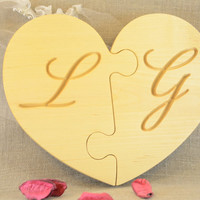 Large Personalized Wood heart puzzle for wedding decors, wedding gifts, Mother's Day gift and nursery, a handmade two piece wooden heart