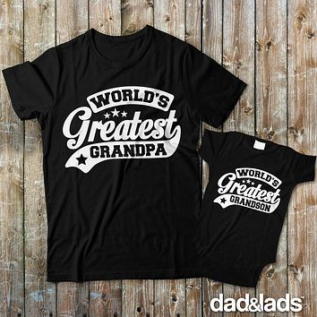World's Greatest Grandpa and World's Greatest Grandson Grandpa and Baby Matching Shirts