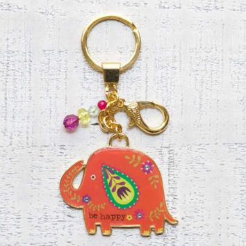 Glitter & Gold Key Chains Be Happy Elephant