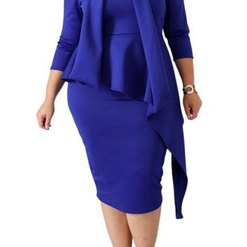 Blue Bowknot Mock Neck Bodycon Plus Size Dress