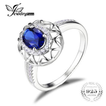 JewelryPalace Unique Design 1.2ct Created Blue Sapphire Ring 925 Sterling Silver  Fashion Jewelry 2016 New Brand For Women