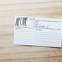 "mason jar 4x6"" recipe cards - set of 12 - hand drawn lettering"