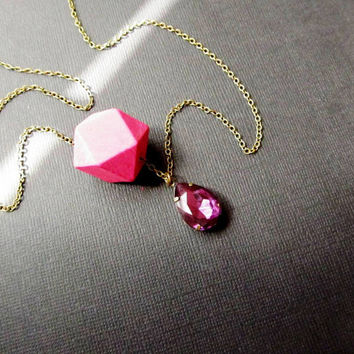 Hollywood Glamorous Necklace Purple Rhinestone Pink Facet Wood Geometric Tribal Necklace