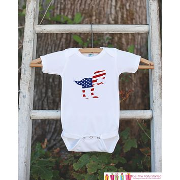 Kids 4th of July Shirt - Patriotic Dinosaur Onepiece or Tshirt - Dino Flag 4th of July Shirt Baby Girl or Boy, Youth, Toddler - Independence