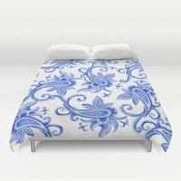 Paisley: Blue China Combo Duvet Cover by Eileen Paulino