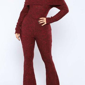 Red Plain Draped Elastic Waist Fashion Dacron Long Jumpsuit