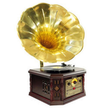 Vintage Phonograph Horn Turntable With CD, Cassette, AM/FM, Aux-In, USB-to-PC Recording