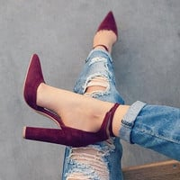 6 Colors Pointed Strappy Pumps Retro High Thick Heels Shoes 2107 New Woman Shoes Female Lace Up Shoes PA911519