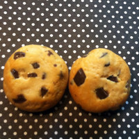 Chocolate Chip Cookie Post Earrings, Polymer Clay Jewelry, Miniature Food