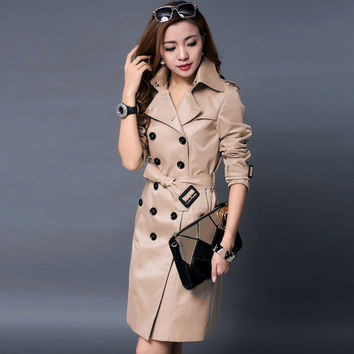 Europe Itay 2015 autumn female classic double breasted long trenchcoat England luxury womens pea coat free shipping