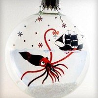 Glass Mr. Squid Holiday Ornament