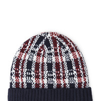 FOREVER 21 Plaid Ribbed Knit Beanie Navy/Multi One