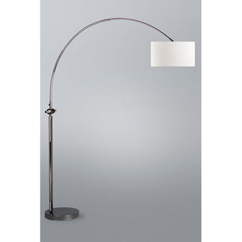 NOVA Lighting 2110391 Issey Black Nickel One-Light Arc Lamp with White Linen Shade