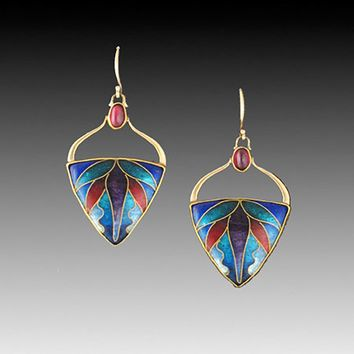 All NEW Soaring Cloisonne Enamel and Gold Earrings
