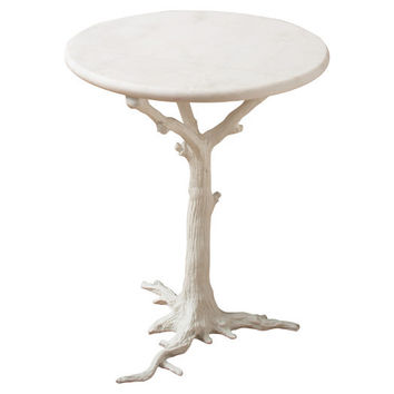 White Faux Bois Side Table