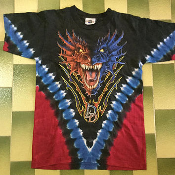 Vintage 90s Double Dragon Universal's Island of Adventure Dueling Dragons Tie Dye T-shirt Size S made in usa