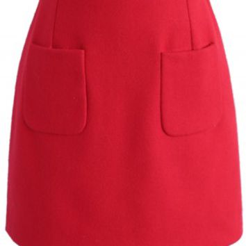 Effortlessly Mod Wool-blend Bud Skirt in Red - Retro, Indie and Unique Fashion