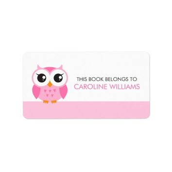 Cute pink cartoon baby owl bookplate book label