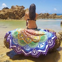 VONESC6 Hot Indian Mandala Round Tapestry Wall Hanging Beach Throw Towel Boho Printed Yoga Mat Blanket Table Cloth Home Decoration 150CM