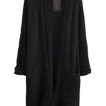Black Long Sleeve Knit Cardigan with Pockets