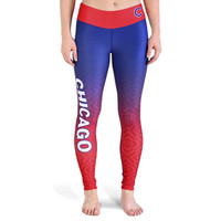 Chicago Cubs Womens Gradient Official MLB Print Leggings