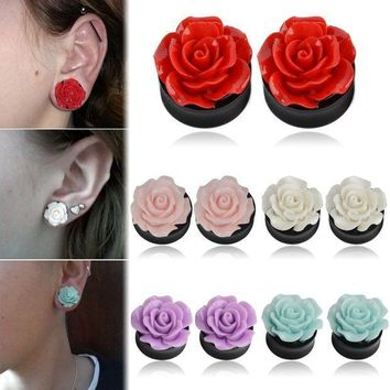 ac ICIKO2Q 1Pair Rose Acrylic Double Saddle Ear Plugs Fashion r Ear Gauge Plugs Tunnels Stretcher Expander For Women Jewelry 8mm-25mm