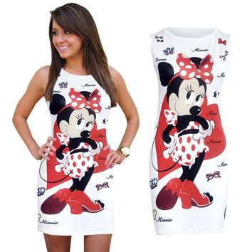 2017 New Summer Dresses Women's Fashion Clothing Apparel Sexy Cartoon Mickey Mous Miki Prints ONeck Mini Casual Sheath Dresses