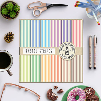Stripe Digital Paper Pastel Scrapbook Paper Striped Pattern Party Paper Pastel Stripe 12x12 Pastel Background Printable Stripes Gift Wrap