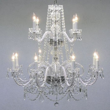 """Authentic All Crystal Chandelier H30"""" X W28"""" - A46-2/385/8+4"""