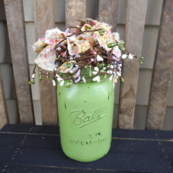 Hand Painted Mason Jar - Distressed Mason Jar - Flower Arrangement -Country-Farmhouse-Rustic-Primitive-Lodge-Rag & Berry- Shabby Lime