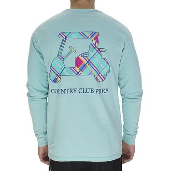 Madras Golf Cart Long Sleeve Tee in Chalky Mint by Country Club Prep