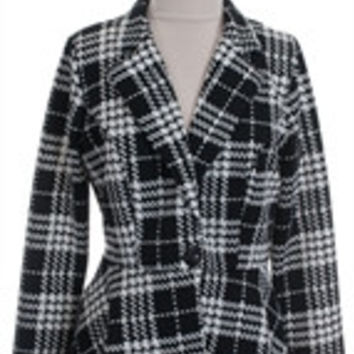 Libian Peplum Style Jacket Single Button Closure in Black & White Houndstooth Plus Size