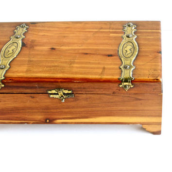 Vintage Wood Cigar Jewelry Box - Retro Trinket Ditty Box Brass Detailing / Wooden Treasure Chest