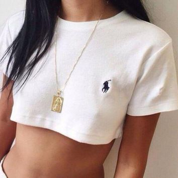 DCCKB62 Polo Ralph Lauren Casual Round Neck Crop Top Shirt Tee Sweatshirt