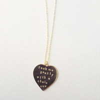 Heathers Movie F-ck Me Gently With A Chainsaw Gold Heart Necklace Heather Chandler quote 80s mature