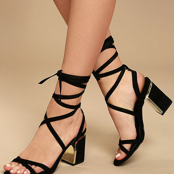 Ailsa Black Suede Lace-Up Heels