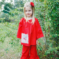Little Girls Valentine Outfit, Valentines Day Card, Girls Outfit, Ruffled Pants and Peasant Top, Sweetheart Red