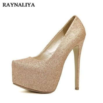 Women Spring High Heels Glitter Ladies Shoes Woman Platform Pumps Women White Sliver Gold Party Wedding Shoes Big Size WZ-B0000